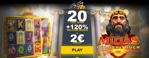 20 free spins and 120% welcome bonus and 2 EUR gratis