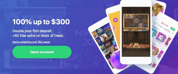 100% welcome bonus + 50 Free Spins