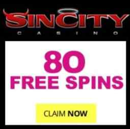 SinCity Casino 80 exclusive free spins and €1500 free money bonus