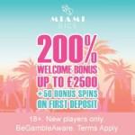 Miami Dice Casino 325% up to £3,500 free bonus + 200 extra spins