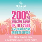 Miami Dice Casino 325% up to £3,500 free bonus + 200 extra spins