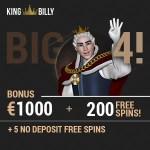 King Billy Casino 5 no deposit free spins + €1000 bonus + 200 gratis spins