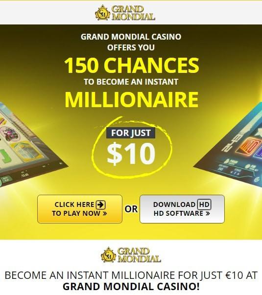 Grand Mondial Casino free spins bonuses and gratis games