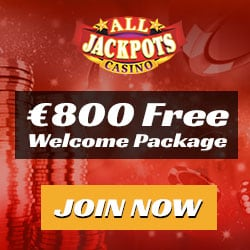 All Jackpots Casino €800 welcome bonus + 100 free play spins