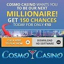 Cosmo Casino 150 free spins on Mega Moolah jackpot and free money in welcome bonus
