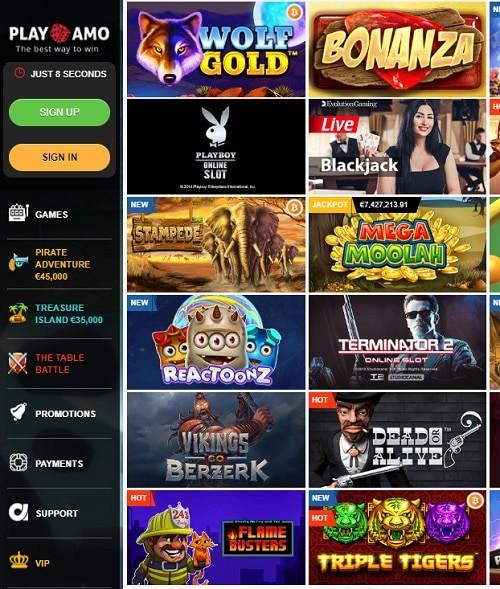 Playamo Casino free bonus games