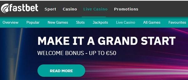 FastBet Casino 50 EUR or 500 SEK free bonus