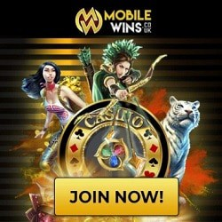 Mobile Wins Casino £/$/€800 free spins bonus - desktop & mobile OK