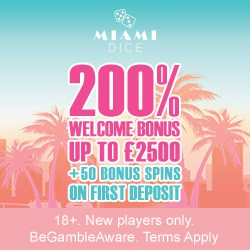 Miami Dice Casino - 200% up to €2500 & 50 bonus spins on 1st deposit