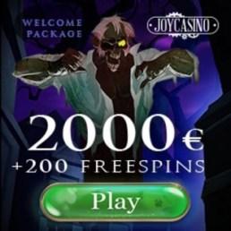 Joy Casino €2000 free money and 200 extra spins - big bonus!