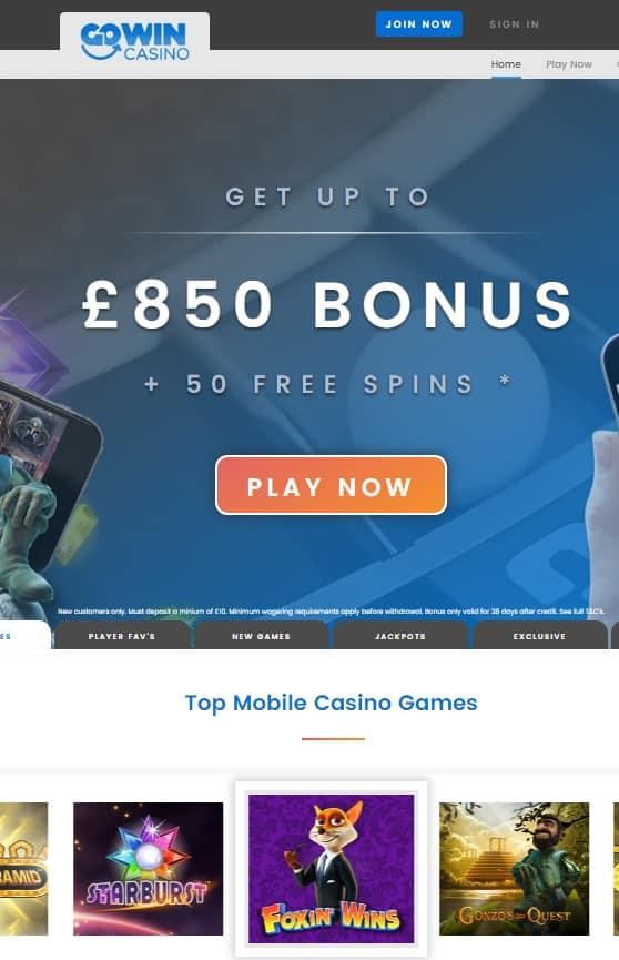 GoWin Casino 50 free spins bonus