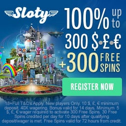 Sloty Casino 200% up to €1,500 welcome bonus + 300 gratis free spins