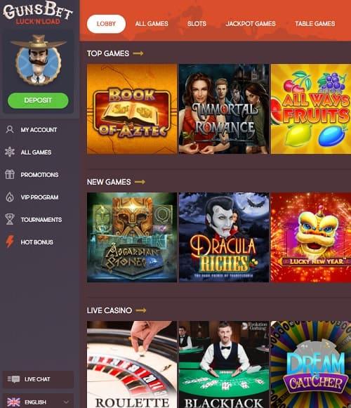Gunsbet Casino Review