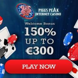 Piggs Peak Casino 150% bonus + €300 gratis + 100 free spins