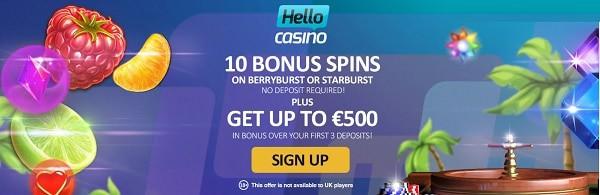 Hello Casino no deposit bonus: 10 free spins on starburst