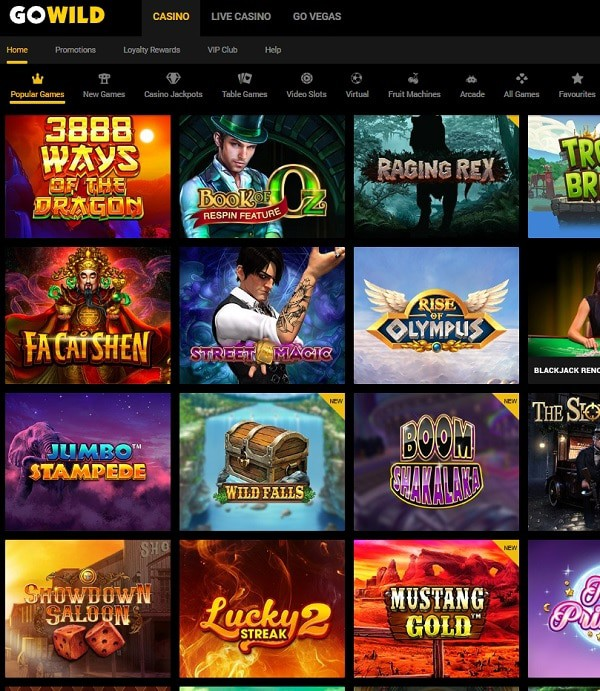GoWild Online Casino 50 free spins and $1,000 free cash in welcome bonus