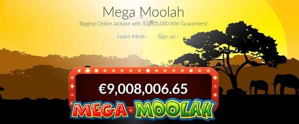 MEGA MOOLAH jackpot free spins bonus at Ruby Foirtune Casino