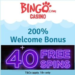 Bingo.com Casino | 40 free spins and 200% free bonus | review