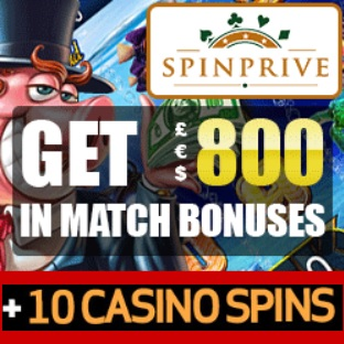 SPINPRIVE -10 no deposit free spins and €800 casino bonus