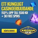 SverigeKronan | 30 free spins + ingen insättningsbonus + 1500 kr gratis