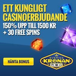 SverigeKronan   30 free spins + ingen insättningsbonus + 1500 kr gratis