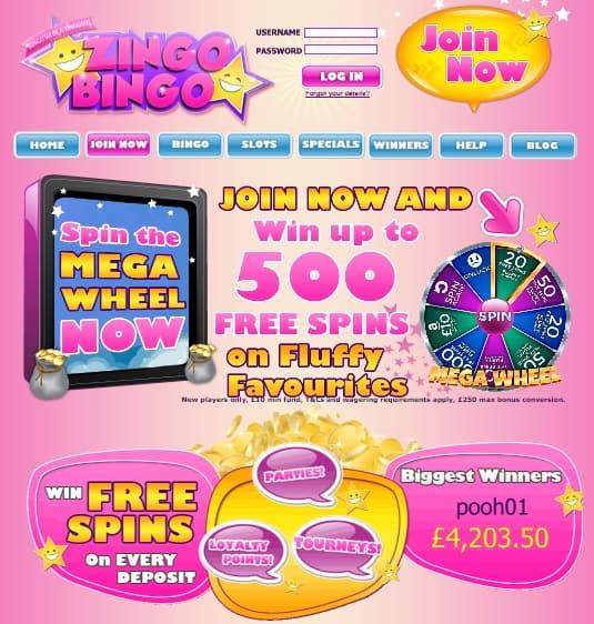 Zingo Bingo Casino £10 bonus voucher + 500 free spins on slots