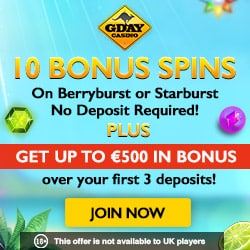 Gday Casino 60 free spins on Starburst / Berryburst - no deposit bonus