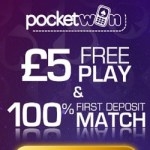 PocketWin Casino £5 no deposit required + 200% bonus for UK mobiles