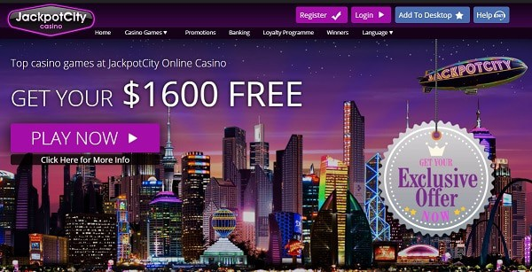 Jackpot City Casino $1600 free bonus