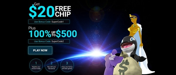 $20 free chip, no deposit required, promo code apply