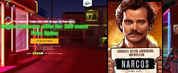 Mr Green 25 free spins on Narcos, no deposit required