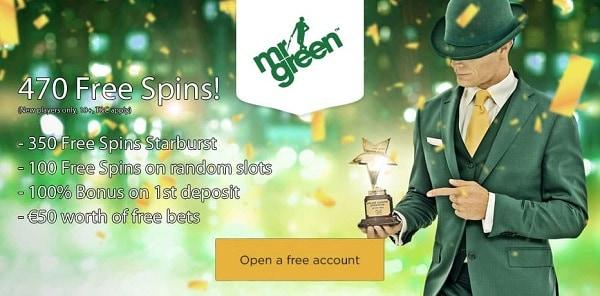 Mr Green Casino 100% bonus and 450 free spins