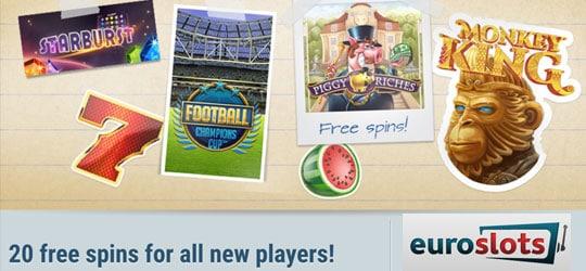 Get 20 free spins on sign up at EUROSLOTS