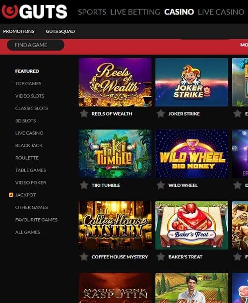 Guts.com Online Casino free bonus