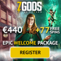 7 Gods Casino – exclusive bonus: €440 free chips and 77 free spins