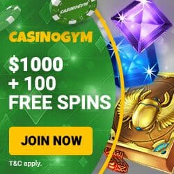 CasinoGym Casino 100 free spins on jackpot + $1000 bonus money