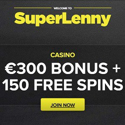 SuperLenny Casino 150 free spins & €300 gratis - no wagering bonus