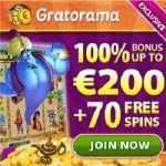 Gratorama.com – £/€/$7 gratis or 70 free spins – no deposit bonus