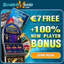 Scratch Mania Casino £/€/$ 7 no deposit bonus or 70 gratis free spins