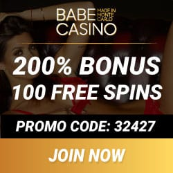 Babe Casino 100 free spins + 400% up to €/$3700 in deposit bonuses