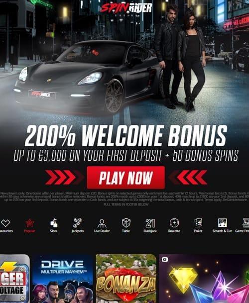 SpinRider Casino free spins bonus