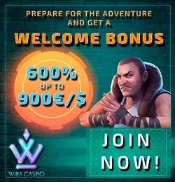 Wira Casino 100 free spins and €/$1,000 bonus - cryptocurrency casino!