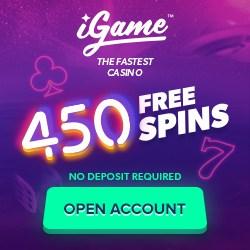 iGame Casino no deposit bonus: 150 free spins on registration!