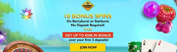 G Day Casino 10 free spins exclusive no deposit bonus for new players
