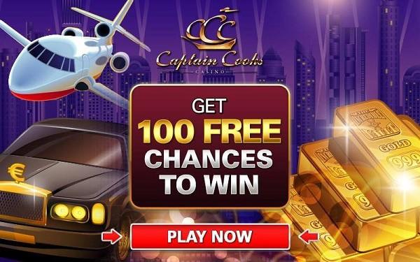Captain Cooks Casino 100 gratis spins bonus