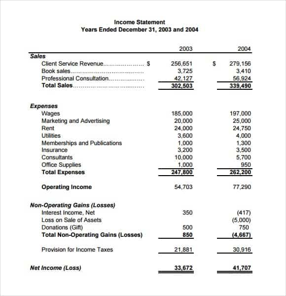 Income Statement Template  Income Statement Layout