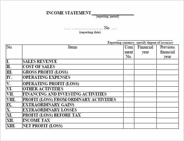income sheet template