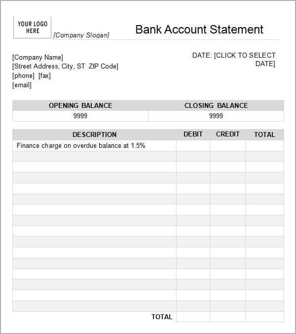 Statement Of Account Template Pictures
