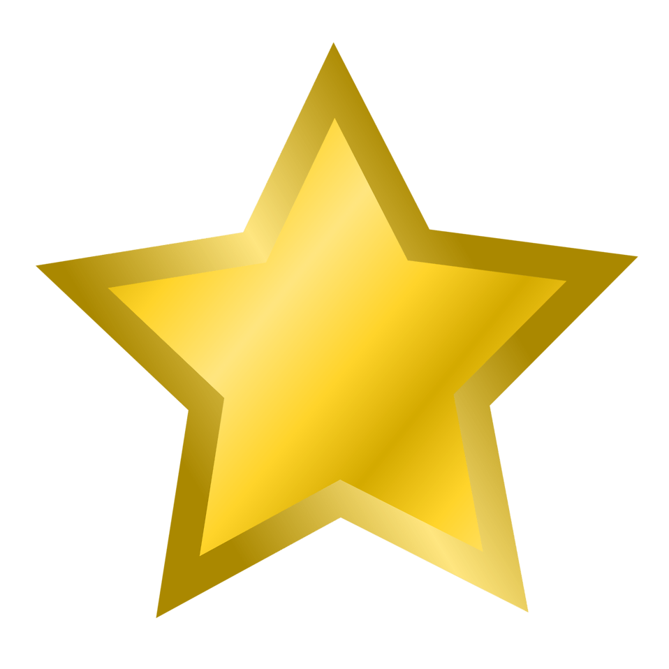 Illustration of a gold star with a transparent background.