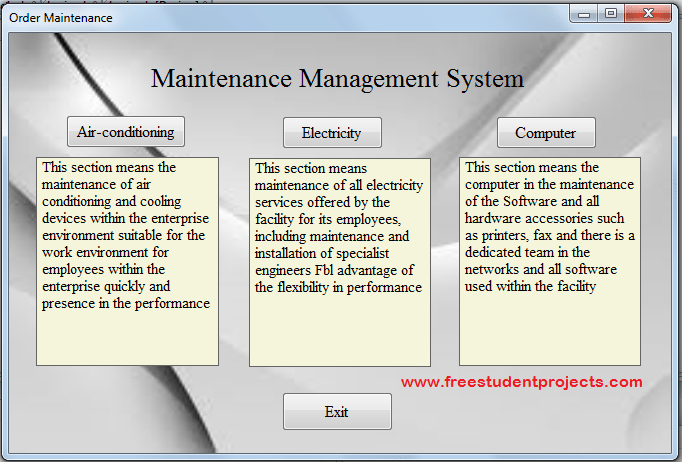 Maintanance Management System
